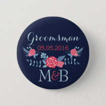 Groomsman button navy and pink Monogram wedding