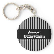GROOMSMAN Custom Name Black Silver STRIPES V05 Keychain