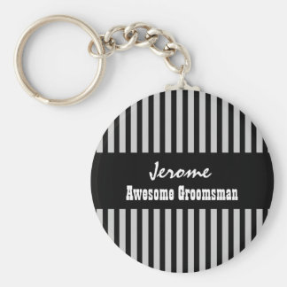 GROOMSMAN Custom Name Black Silver STRIPES V05 Keychain