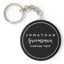Groomsman Custom Wedding Favor Modern Monogram Keychain