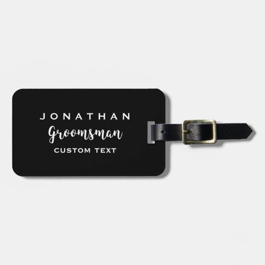 Groomsman Custom Wedding Favor Modern Monogram Luggage Tag Zazzle