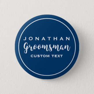 Groomsman Custom Wedding Favor Modern Monogram Pinback Button