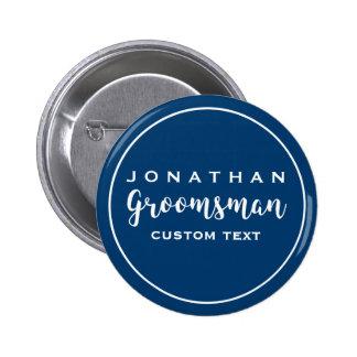 Groomsman Custom Wedding Favor Modern Monogram Pinback Button