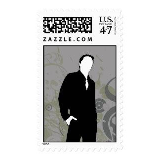 groomsman : elegant silhouette : postage