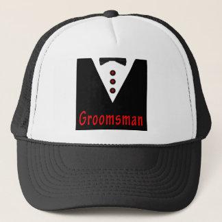 Groomsman In Tux Trucker Hat