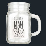"""Groomsman Modern Wedding Favor Mason Jar<br><div class=""""desc"""">Groomsmen! What to get your Groomsmen? How abut a classic Mason Jar (with or without a handle - large or small) with your initials and wedding date on it. It's a useful Thank You gift for being there on your Wedding Day. Can also be used for the Best Man too....</div>"""