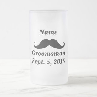 Groomsman Mustache and Top Hat Frosted Glass Mug