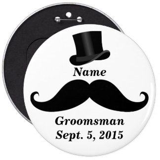Groomsman Mustache and Top Hat Pin-Back Button