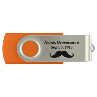 Groomsman Mustache and Top Hat USB Flash Drive Swivel USB 2.0 Flash Drive
