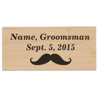 Groomsman Mustache, Top Hat, Suit USB Wooden Drive Wood USB 2.0 Flash Drive