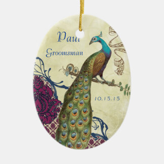 Groomsman Navy & Raspberry Vintage Peacock Double-Sided Oval Ceramic Christmas Ornament