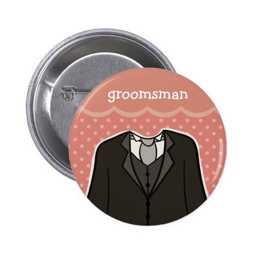 Groomsman // PINK 2 Inch Round Button