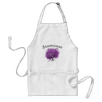 Groomsman Purple Heart Leaf Tree Wedding Adult Apron