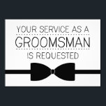 """Groomsman Request   Groomsmen Card<br><div class=""""desc"""">You&#39;ve found your woman,  but you still need your boys. Ask them to be part of you big day with these stylish and modern groomsman cards. Available in groomsman,  best man,  junior groomsman and ring bearer styles.</div>"""