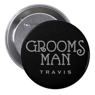 Groomsman Silver Faux Glitter Name Tag Button