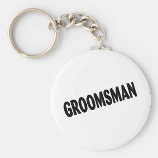 Groomsman Slanted Black Keychain