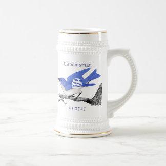 Groomsman Stein Wedding Vintage Bluebirds