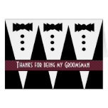 Groomsman Thank You - Three Tuxedos - Customizable Greeting Card