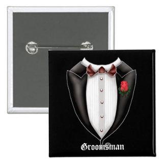 Groomsman Tuxedo Button 2 Inch Square Button