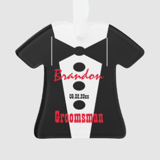 Groomsman Wedding Favor Custom Name Tux 2 Ornament