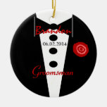 Groomsman Wedding Favor Custom Name Tux Double-Sided Ceramic Round Christmas Ornament