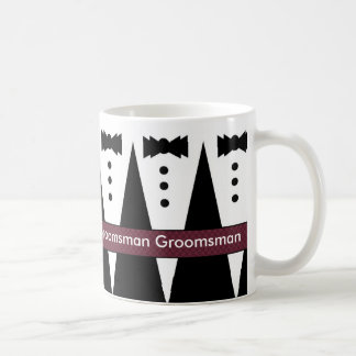 GROOMSMAN Wedding Favor Mug with Tuxes