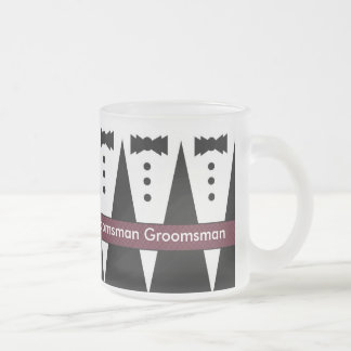 GROOMSMAN Wedding Favor Mug with Tuxes - FROSTED