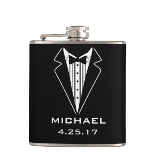 GROOMSMAN WEDDING GIFT WRAPPED FLASK