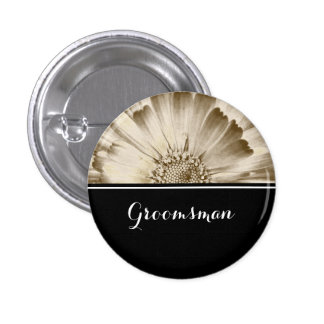 Groomsman Wedding Gold Daisy Button