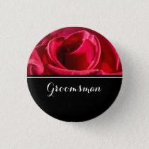 Groomsman Wedding Red Roses Button
