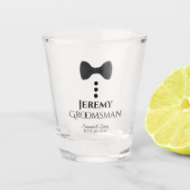 Groomsman Wedding Shot Glass with Black Tie