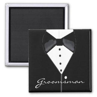 Groomsman Wedding Tuxedo 2 Inch Square Magnet