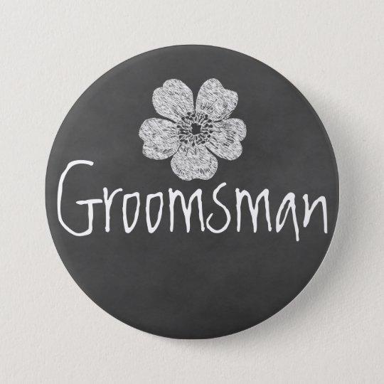 Groomsman Wild White Roses Chalkboard Button