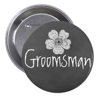 Groomsman Wild White Roses Chalkboard Pinback Buttons