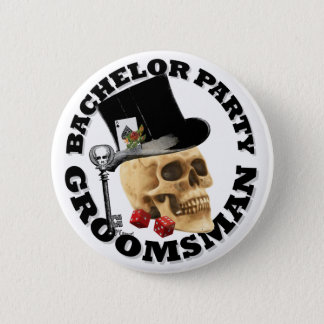 Groomsmans Gothic gambling skull bachelor party Pinback Button