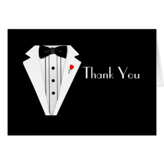 Groomsmen Black Tuxedo Bow Tie Thank You Card