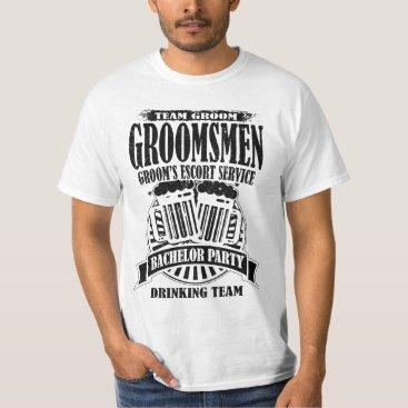 Wedding Themed Groomsmen Groom's Escort Service Bachelor Party T-Shirt