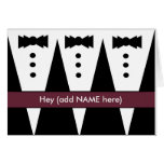 Groomsmen Invitation with Three Tuxedos Greeting Cards