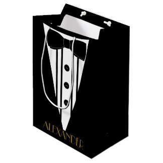 Groomsmen Tuxedo Personalized Wedding Thank You Medium Gift Bag