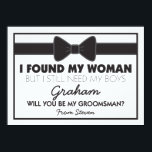 """Groomsmen Wedding Bow Tie Card<br><div class=""""desc"""">Looking at asking friends or family to be your groomsmen for your future wedding, then why not choose these cool classic black &amp; white groomsman cards. This customized invite will make your friend, brother, cousin, nephew, son or whoever else you choose feel that extra special. This invite is easily personalized...</div>"""
