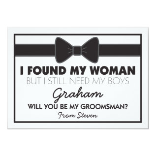 Groomsmen Wedding Bow Tie Card at Zazzle