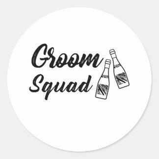 Groomsmen with Wine Bottle Wedding Gift Classic Round Sticker