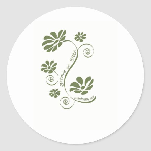 Groove on Green! Classic Round Sticker