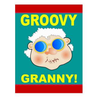Groovey Granny Cartoon Postcard