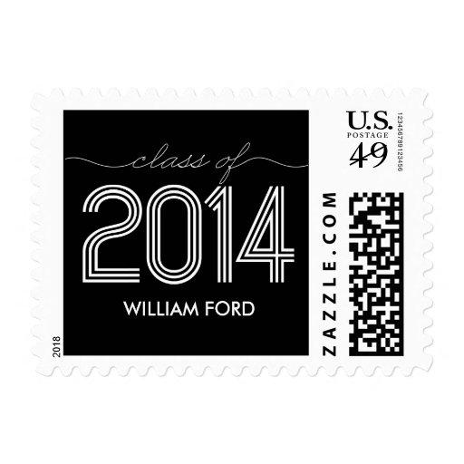 Groovy 2014 Graduation Postage Stamp - Black Stamp
