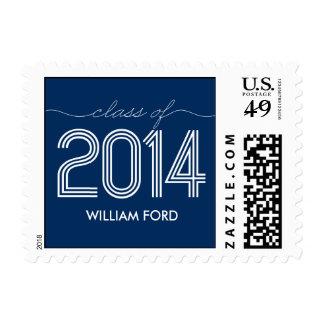 Groovy 2014 Graduation Postage Stamp - Navy Blue Stamp