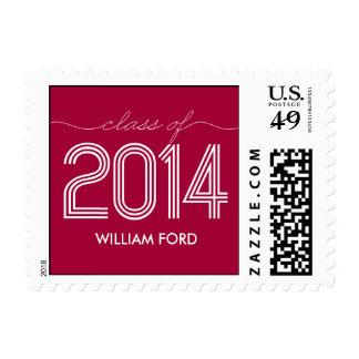 Groovy 2014 Graduation Postage Stamp - Raspberry Postage Stamp