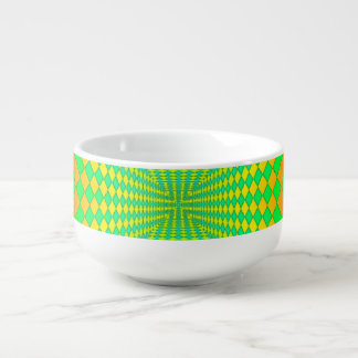 Groovy 3-D Retro Pattern Soup Bowl With Handle
