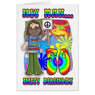 Groovy 50th Birthday - Hippy Birthday Greeting Card