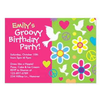 Groovy 60's birthday party invitations